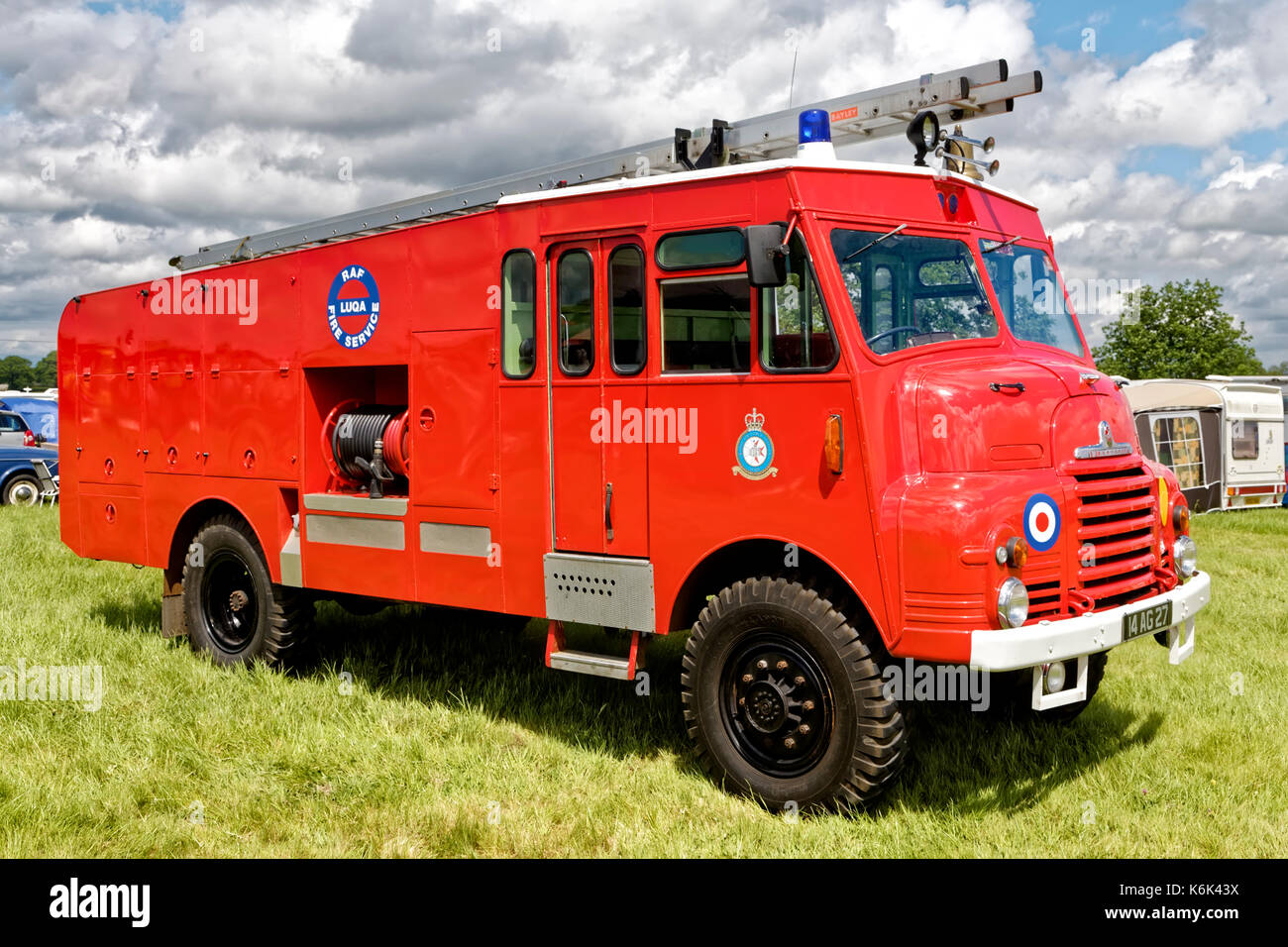 A 1956 Bedford RLHZ PGW340 Goddess fire engine posing in the livery of 14 AG 27 RAF Luqa Fire Service at the 2017 Selwood Steam & Vintage Rally. - Stock Image