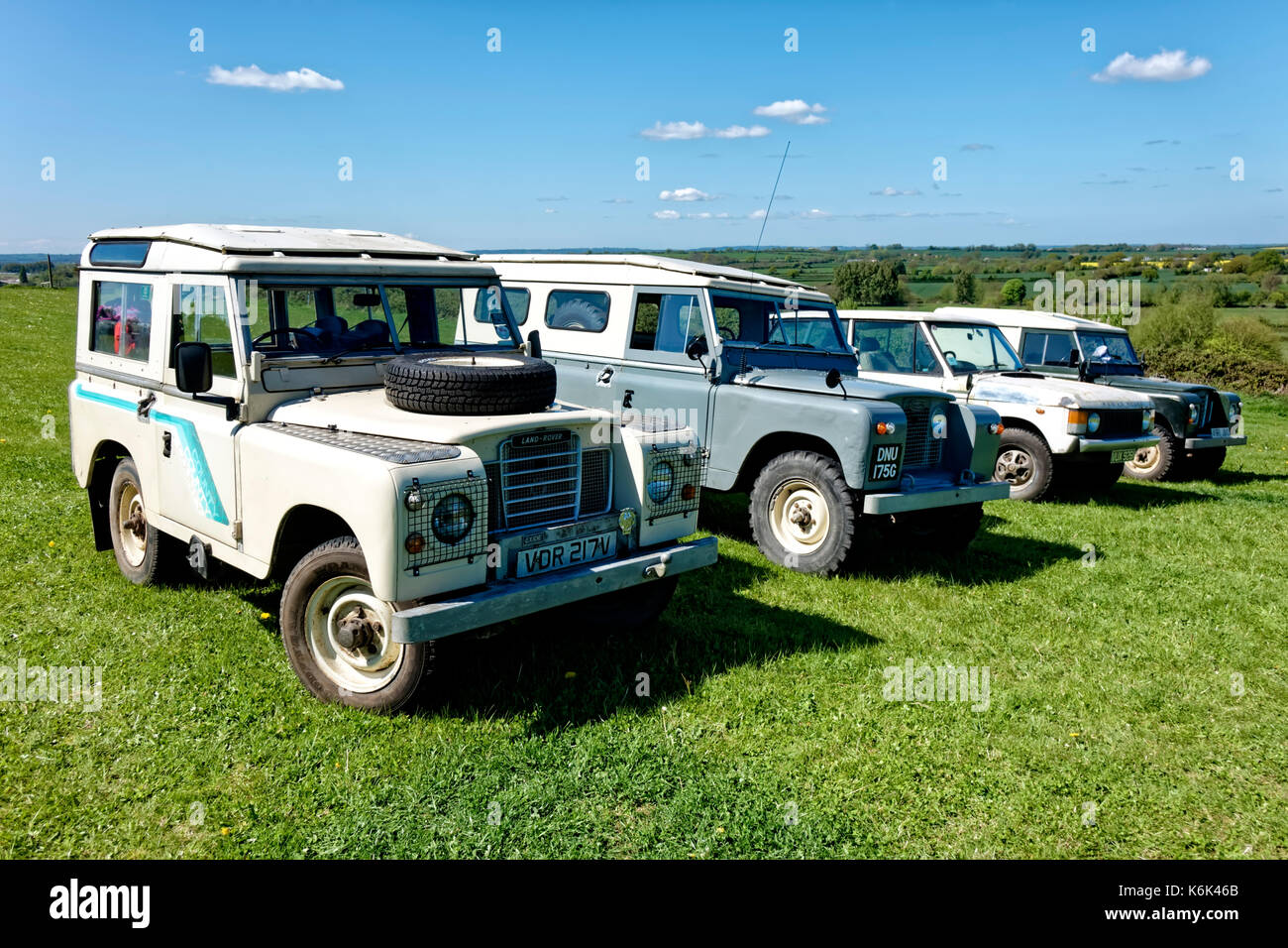 A Line-up of Vintage & Classic Land Rovers at the 2017 Westbury Transport & Vintage Gathering, Bratton, Wiltshire, United Kingdom. - Stock Image