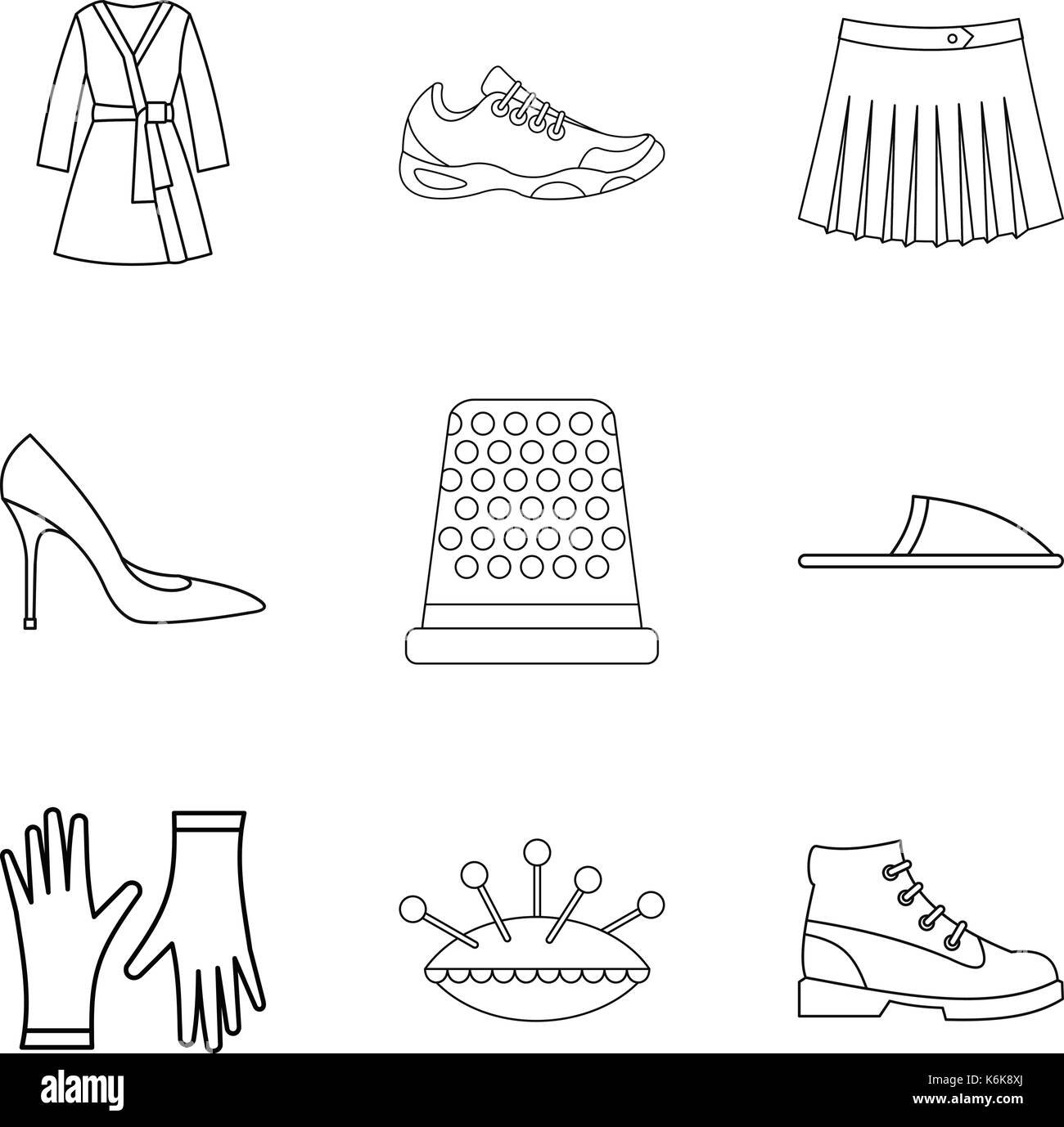 Home clothes icon set, outline style - Stock Vector