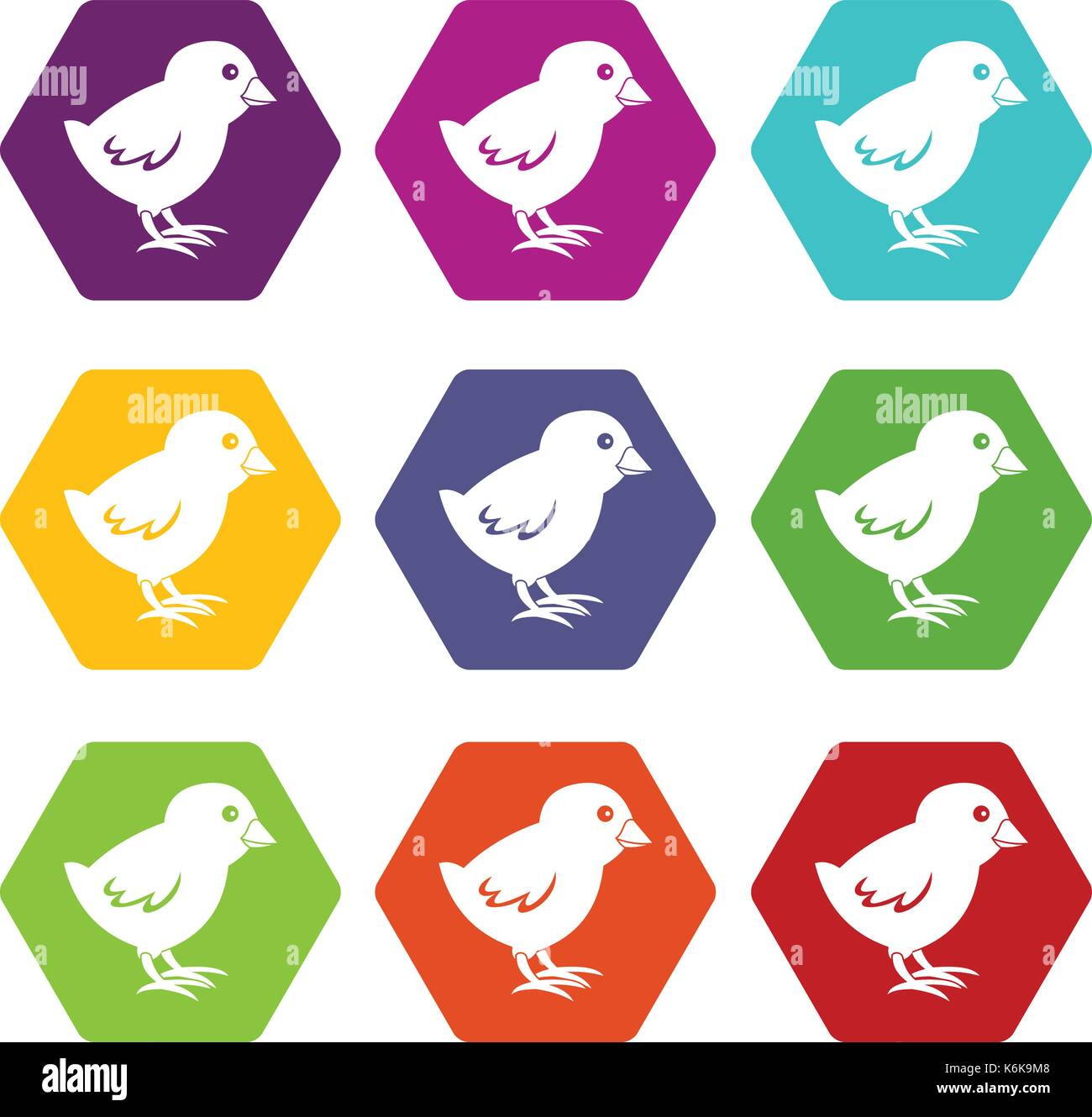 Chick icon set color hexahedron - Stock Image