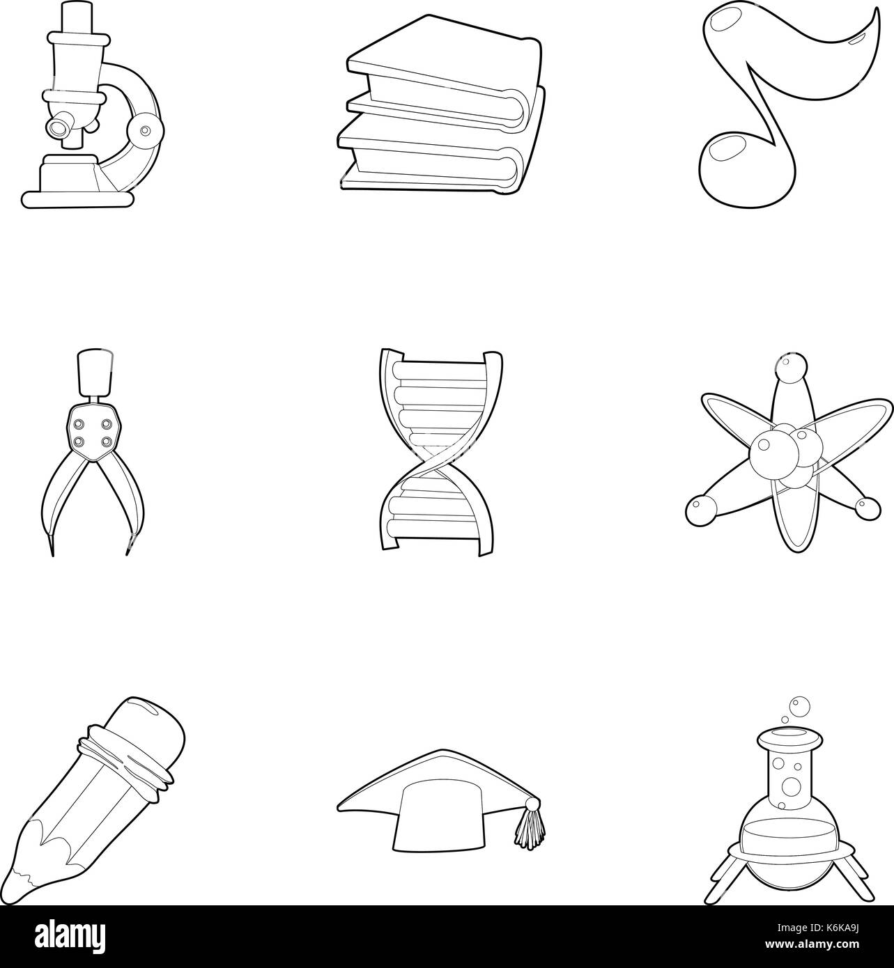 College icons set, outline style Stock Vector Art & Illustration