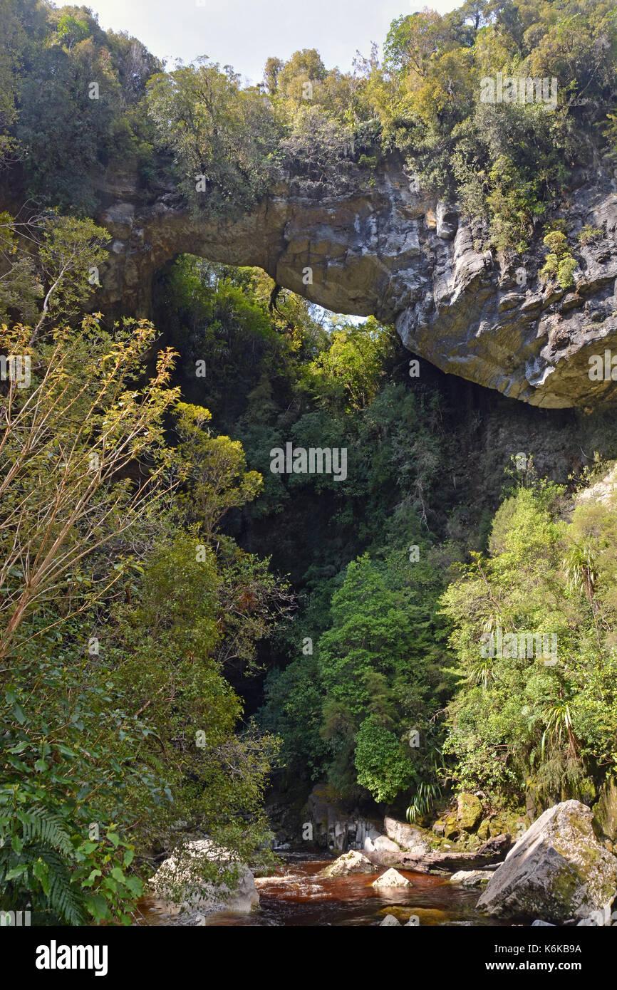 An amazing limestone Arch hangs 40 metres above the Oparara River near Karamea, West Coast New Zealand. Stock Photo