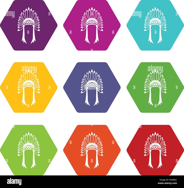 Indian headdress icon set color hexahedron - Stock Image
