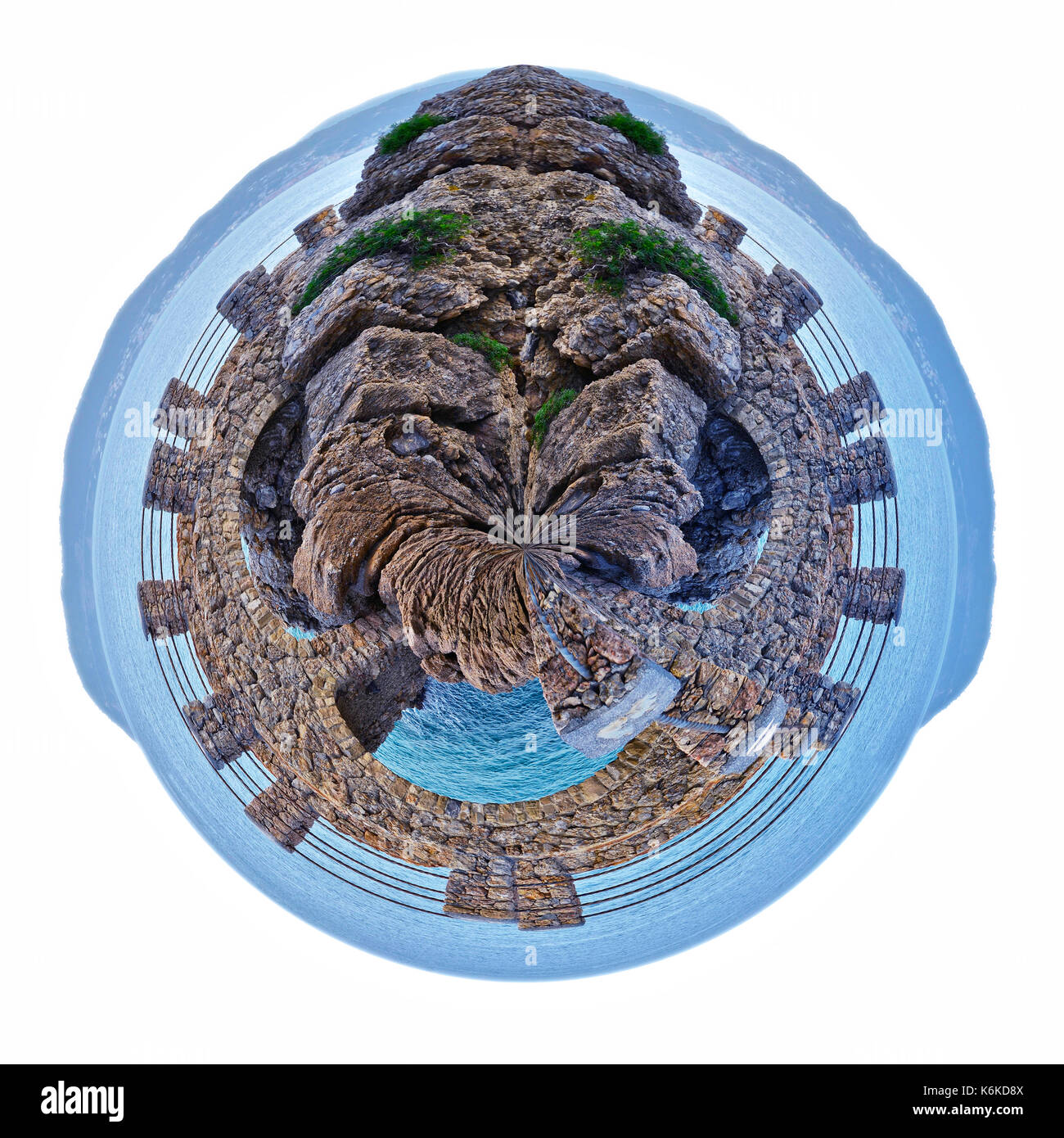 small planet of Alassio with a bridge along the coast overlooking the Mediterranean Sea, in Italy - Stock Image