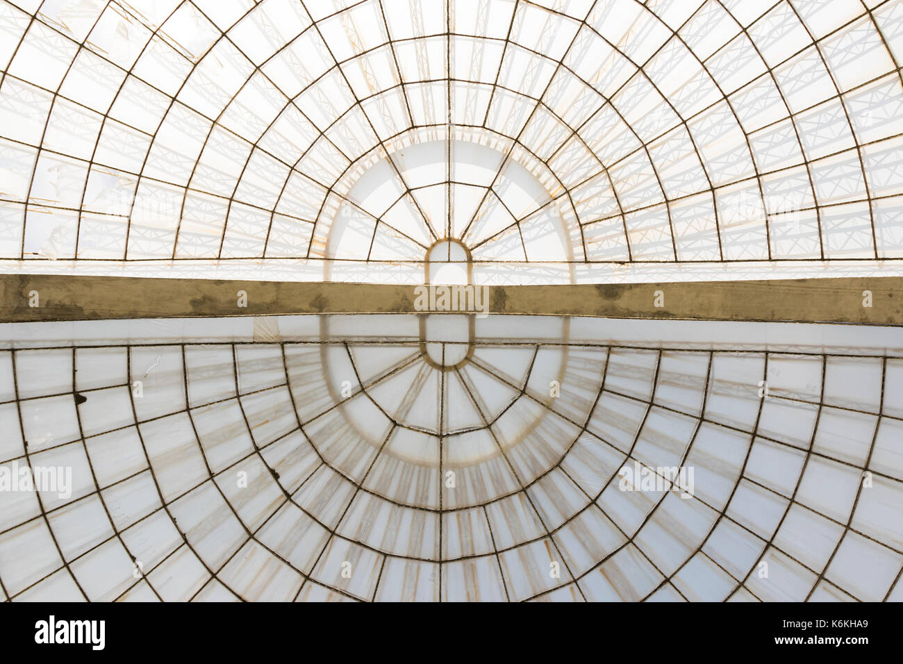 greenhouse symmetrical dome horizonal structure seen from below - Stock Image
