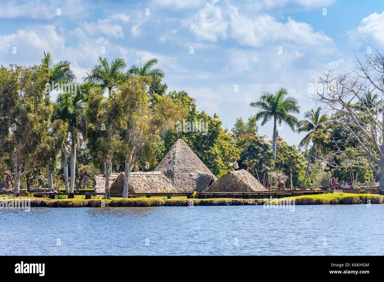 La Aldea Taina, a reconstructed pre-Columbian village with huts (bohios) on Guama, Laguno del Teroso, on the west coast of Cuba - Stock Image
