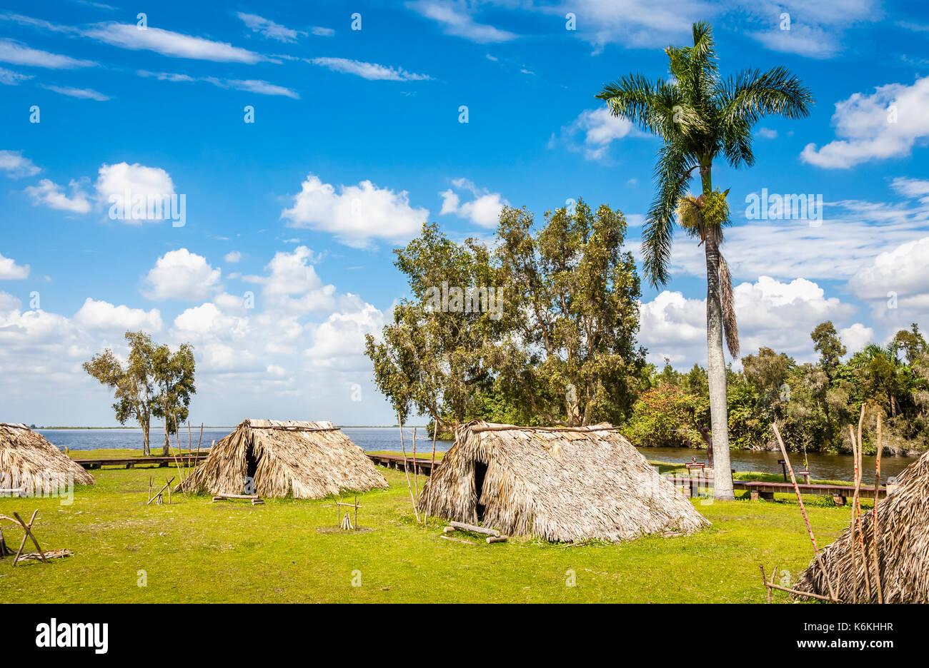 Guama, which includes La Aldea Taina, a reconstructed pre-Columbian village, Laguno del Teroso, on the west coast of Cuba - Stock Image