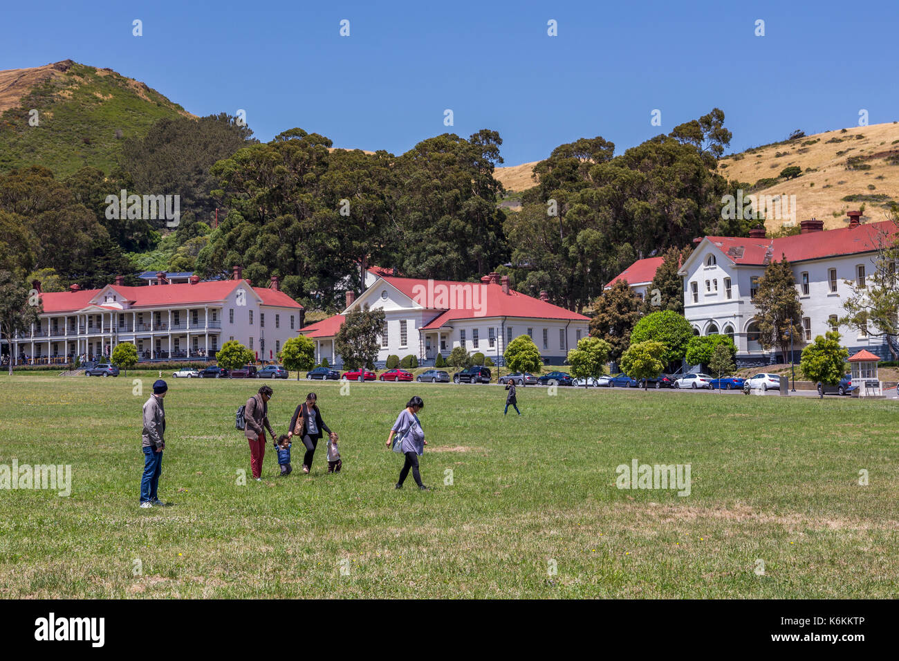 people, families, tourists, visiting, Cavallo Point Lodge, The Lodge at the Golden Gate, Fort Baker, city of Sausalito, Marin County, California - Stock Image