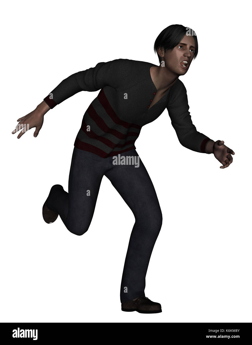 3d rendering of a man running away from something scary Stock Photo