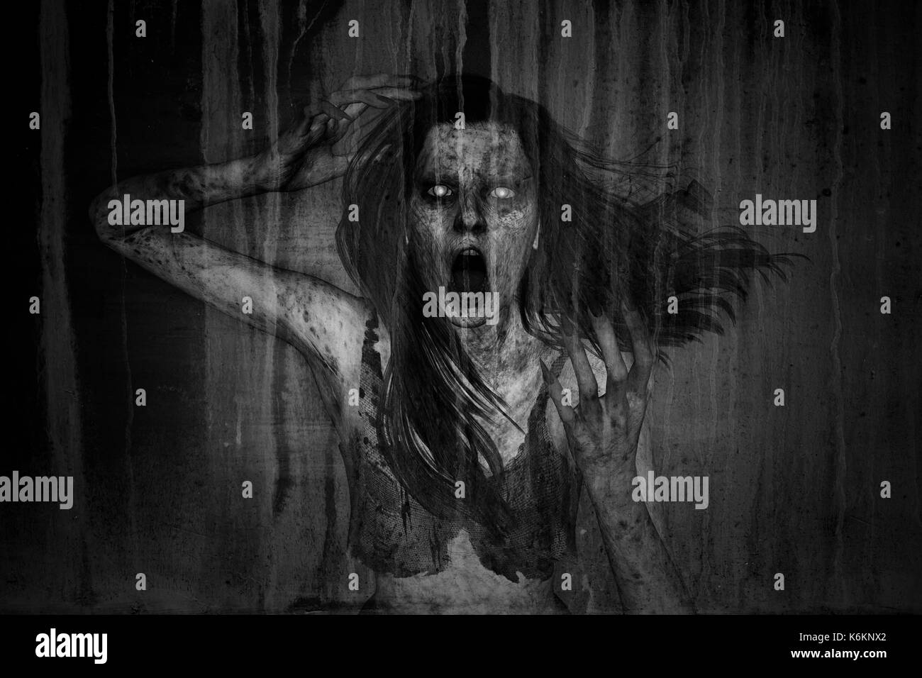 3d illustration of scary ghost woman moaning in the dark,Horror