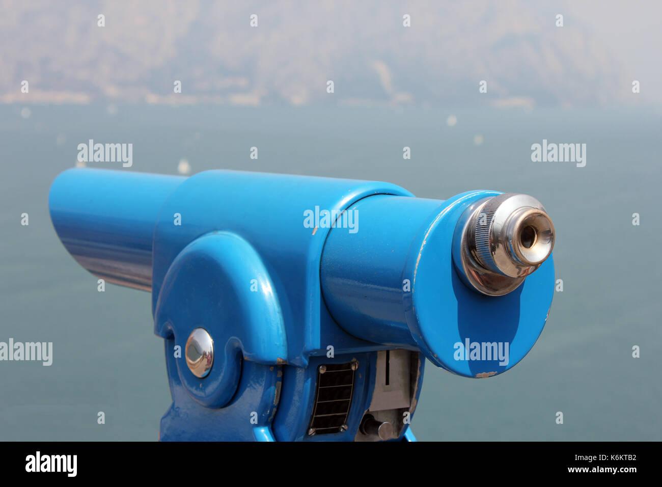 Detail eines münzfernrohrs an einen aussichtspunkt. - Stock Image