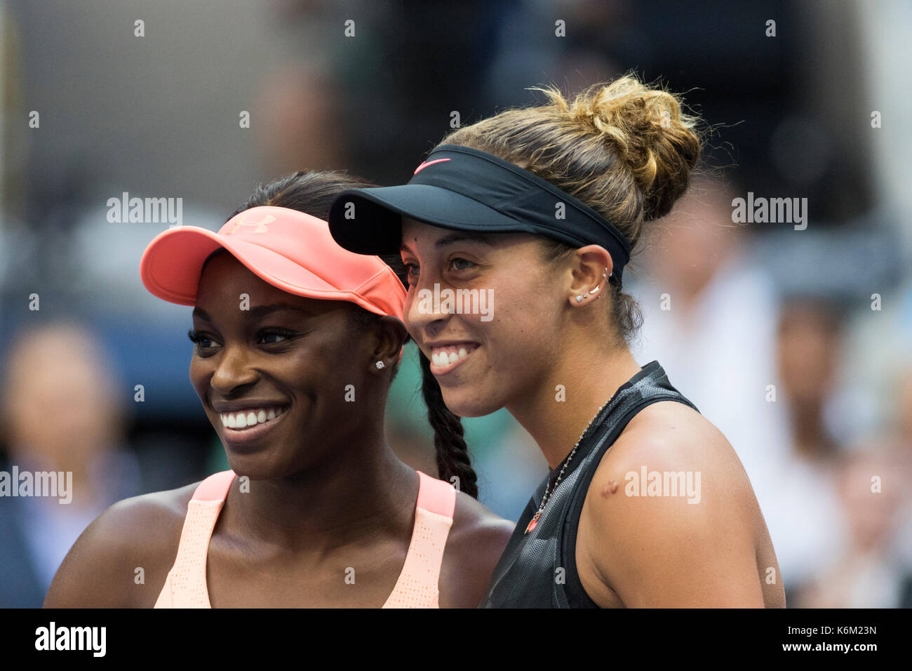 Sloane Stephens (USA) and Madison Keys (USA) prior to the Women's Singles Final  at the 2017 US Open Tennis Championships - Stock Image