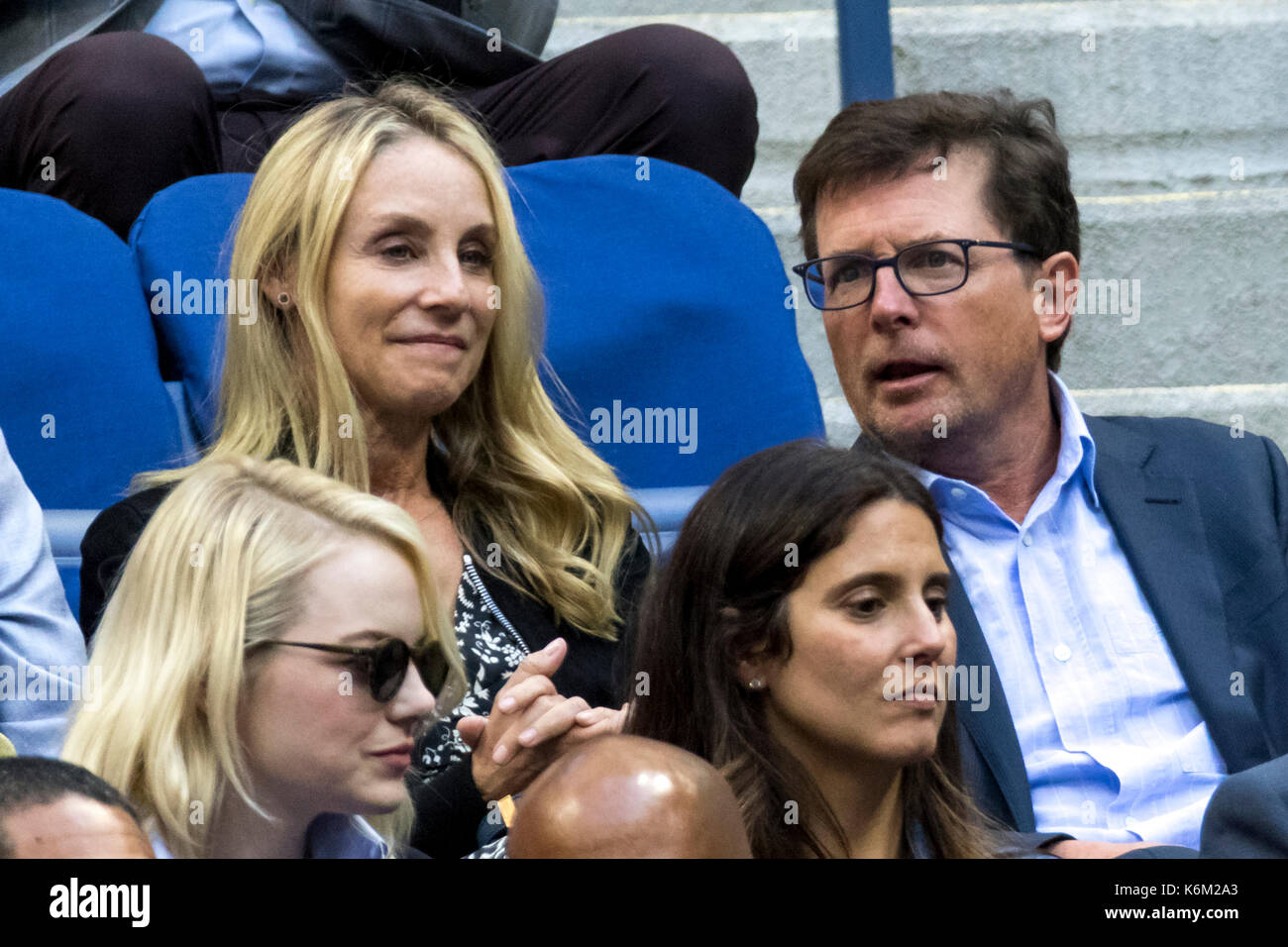 Tracy Pollan and Michael J. Fox, attend the 2017 US Open Women's Final Stock Photo