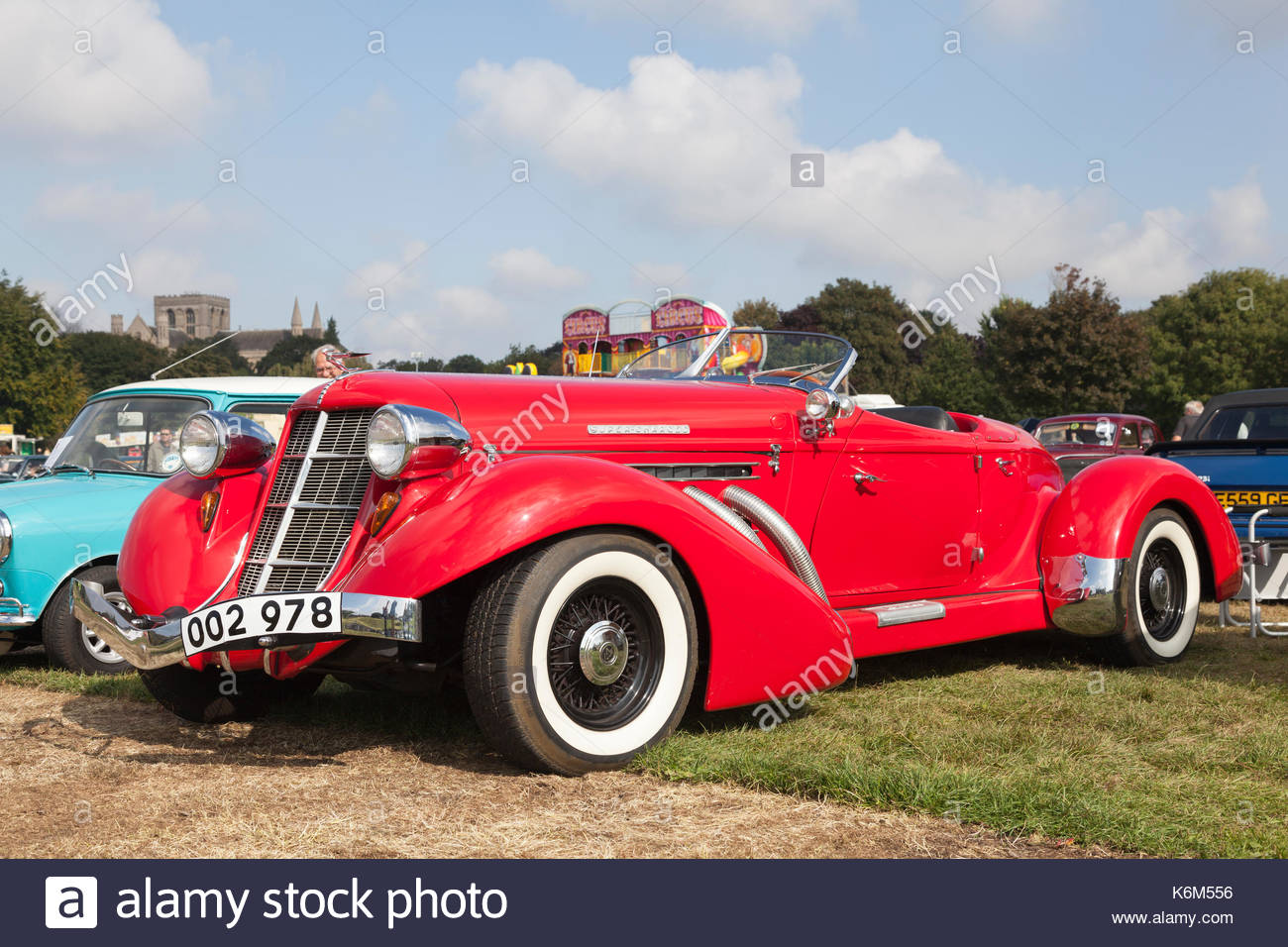 Auburn classic car on display at a vintage car show in Peterborough, Cambridgeshire, UK - Stock Image