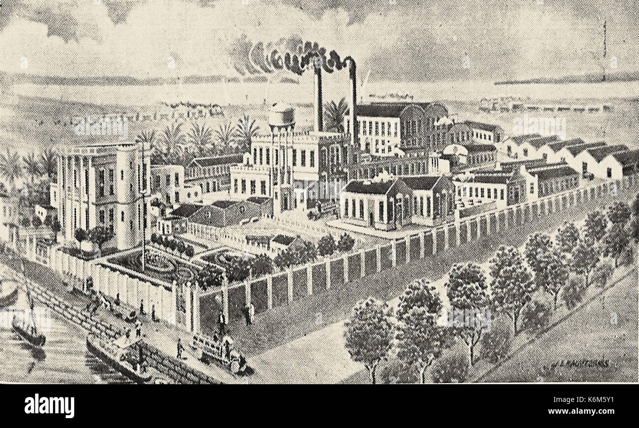 Chromolithographic and paper mill factory of Mr. K. I. Lagoudakis & Co in Alexandria (c. 1902) - Stock Image