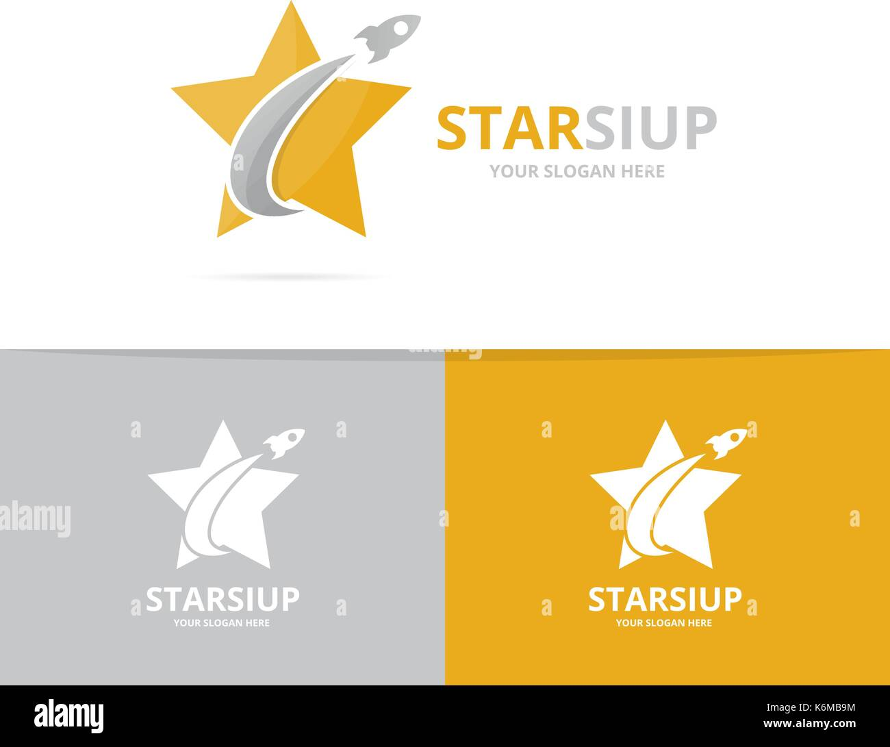 Vector star and rocket logo combination. Leader and airplane symbol or icon. Unique flight and team logotype design template. - Stock Vector