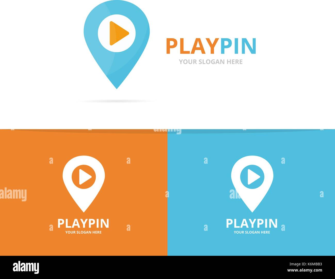 Vector of map pointer and button play logo combination. GPS locator and record symbol or icon. Unique pin and audio, video logotype design template. - Stock Vector