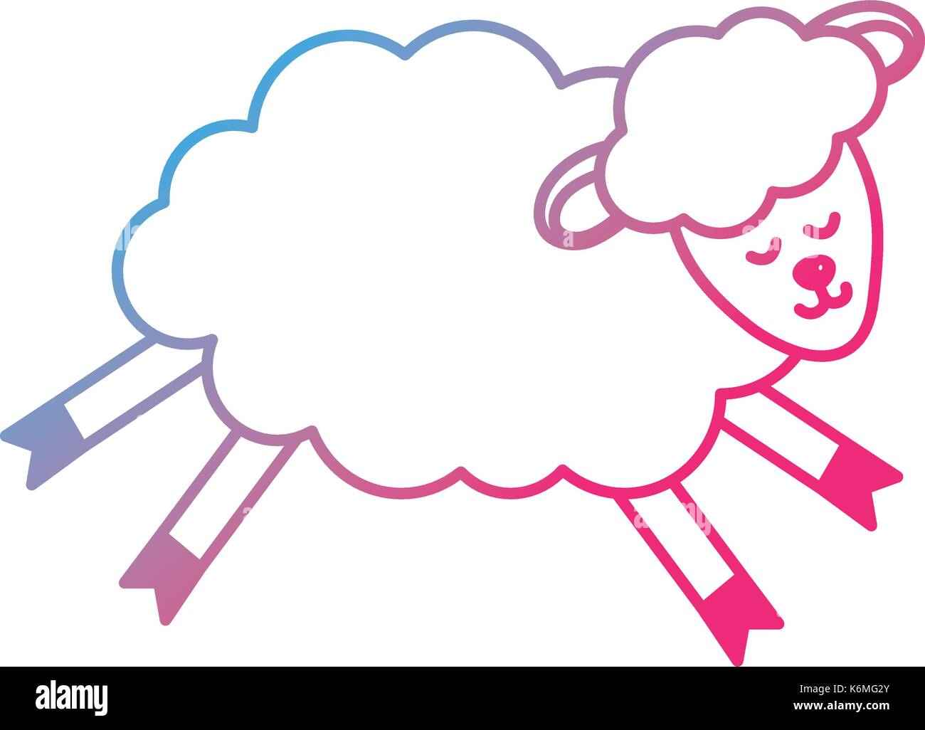 line cute sheep animal with wool design - Stock Vector