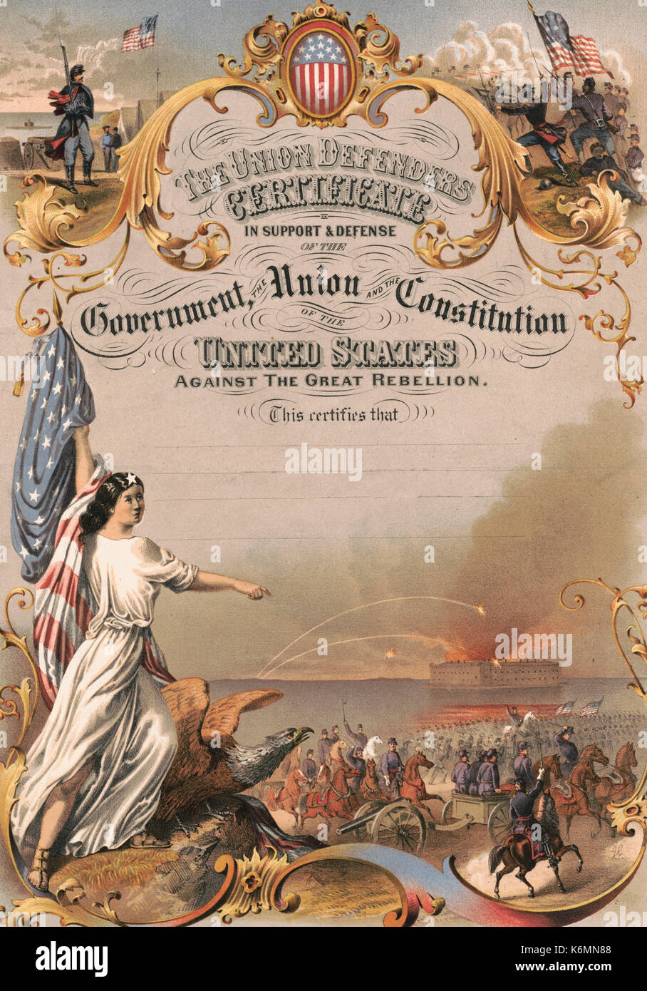 The Union defenders certificate in support & defense of the government, the Union and the Constitution of the - Stock Image