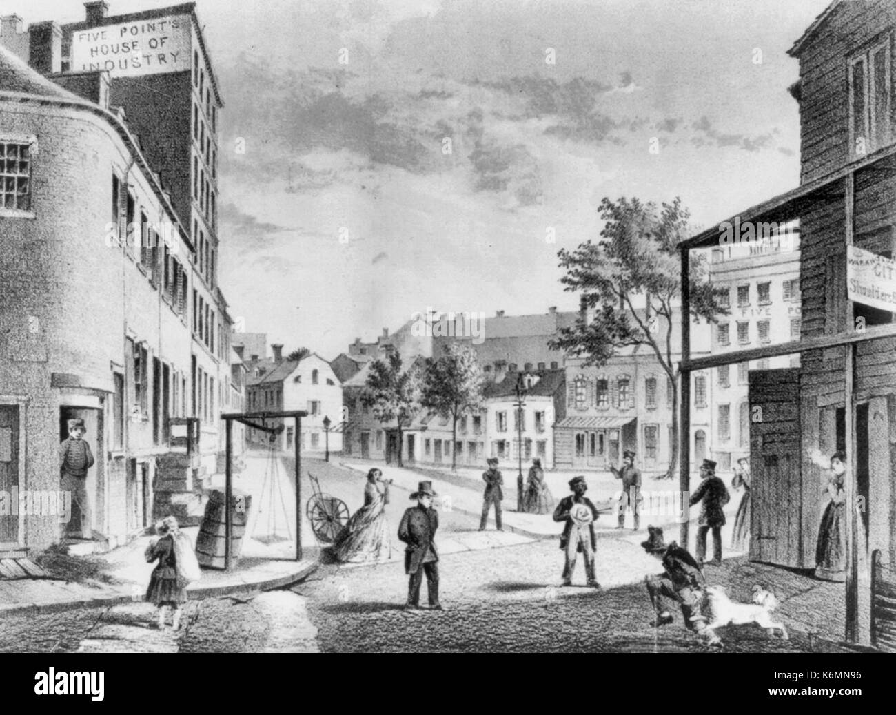 The Five Points in 1859. View taken from the corner of Worth & Little Water St. - Five Points being a house of industry - New York City. - Stock Image