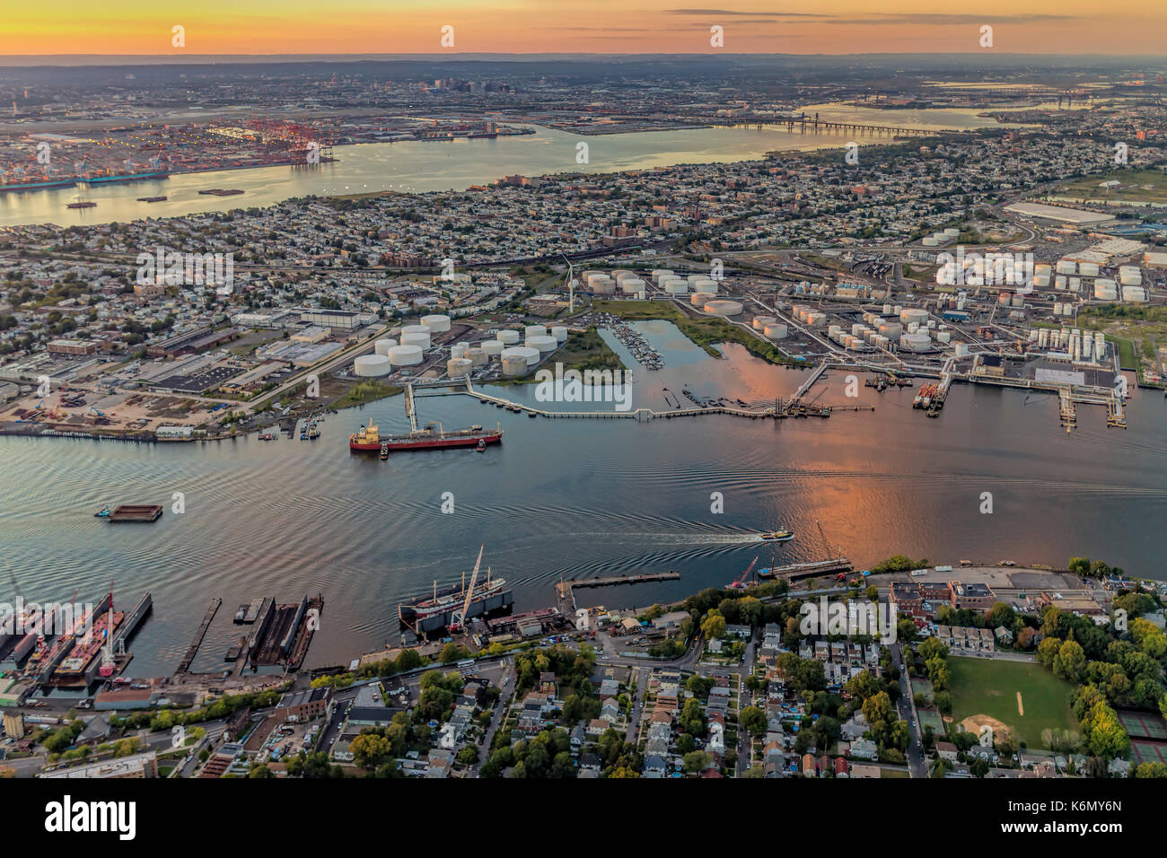Aerial View Port Of NY And NJ  - Aerial view the New York / New Jersey Harbor and the industrial section of Bayonne, Stock Photo