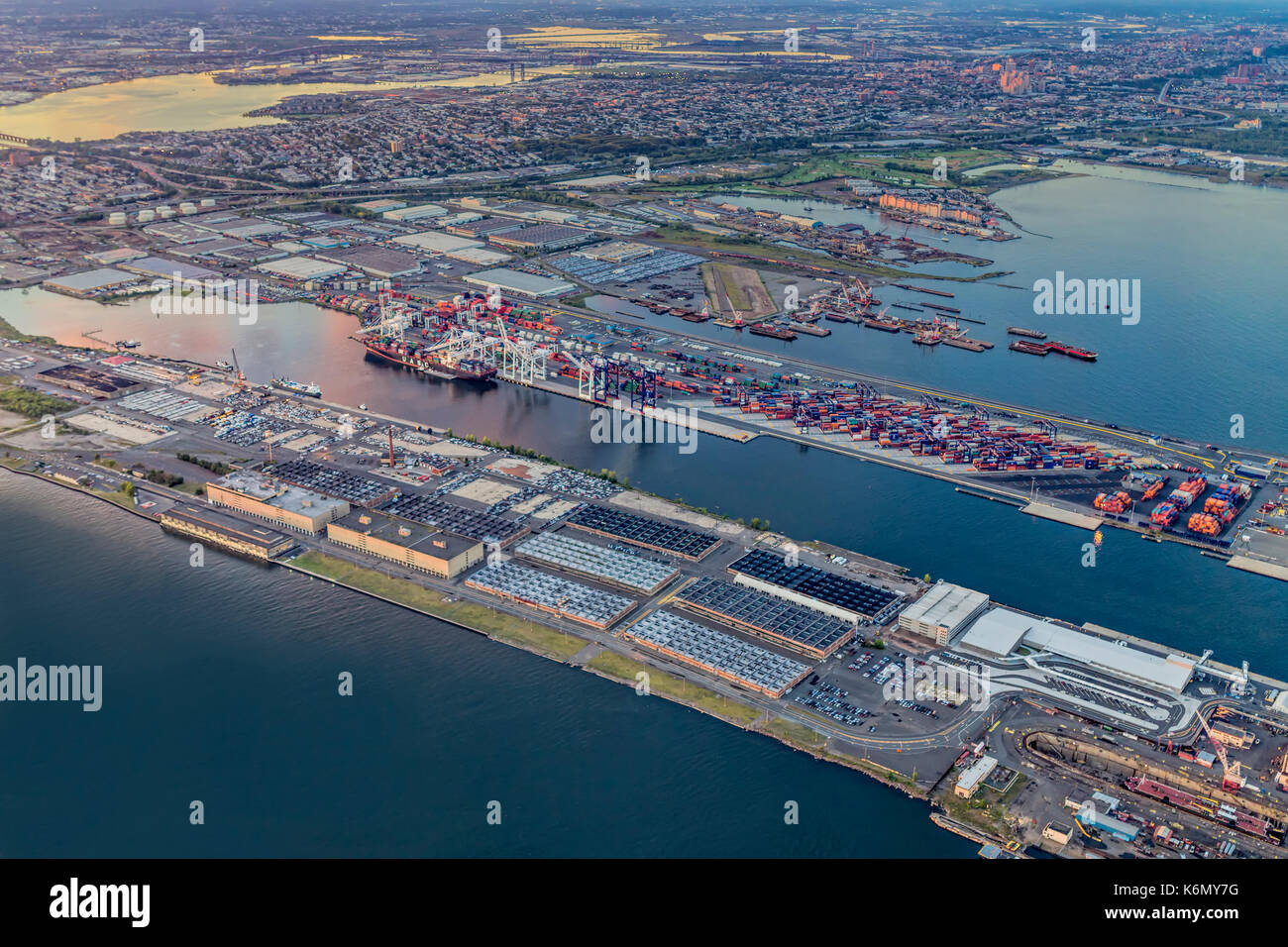 Aerial View of the Bayonne Container Terminal and industrial area in New Jersey. Stock Photo