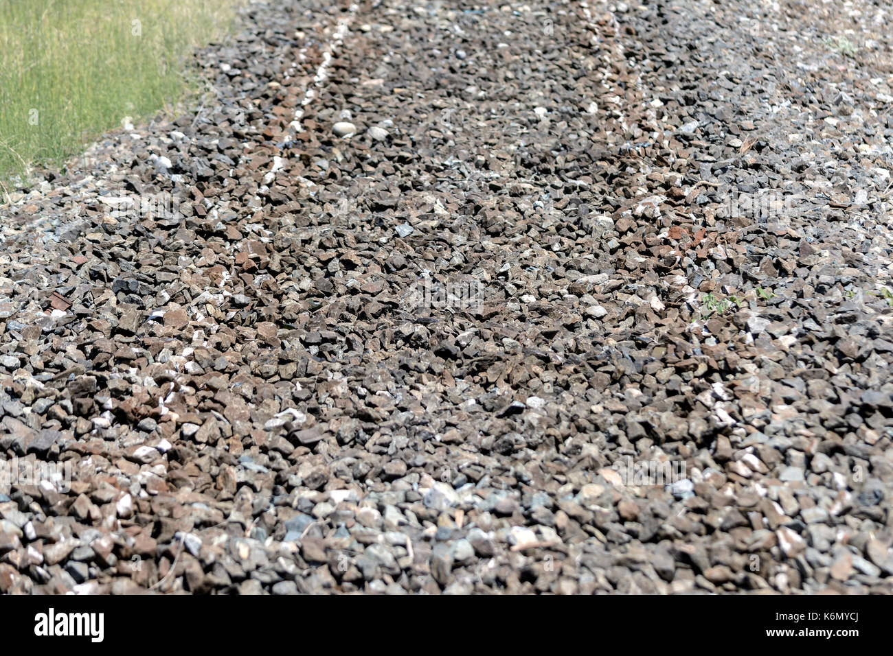 old disused railroad, with massive but without rails, in Liguria, Italy - Stock Image