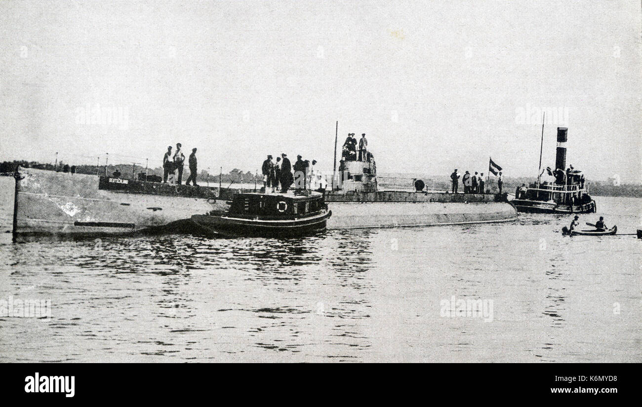 This photo taken during World War I shows German merchant submarine Deustchland lying in Chesapeake Bay before returning across the Atlantic. In spite of the vigilance of English patrols, the Deutschland  made two trips to the United States, landing once at Baltimore and once at New London. The Deutschland was a blockade-breaking German cargo submarine. It was private and owned by the North German Lloyd Line and had a capacity of 700 tons. Its commanding officer was Paul Koenig. It was used for high-value trans-Atlantic commerce, submerging to avoid British patrols. - Stock Image
