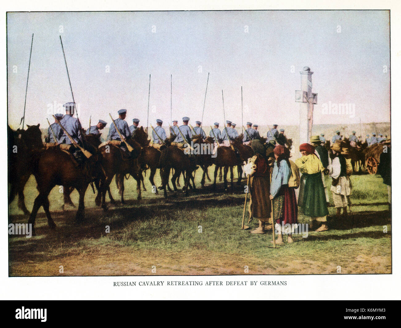 This illustration from World War I shows the Russian cavalry retreating after defeat by Germans. - Stock Image