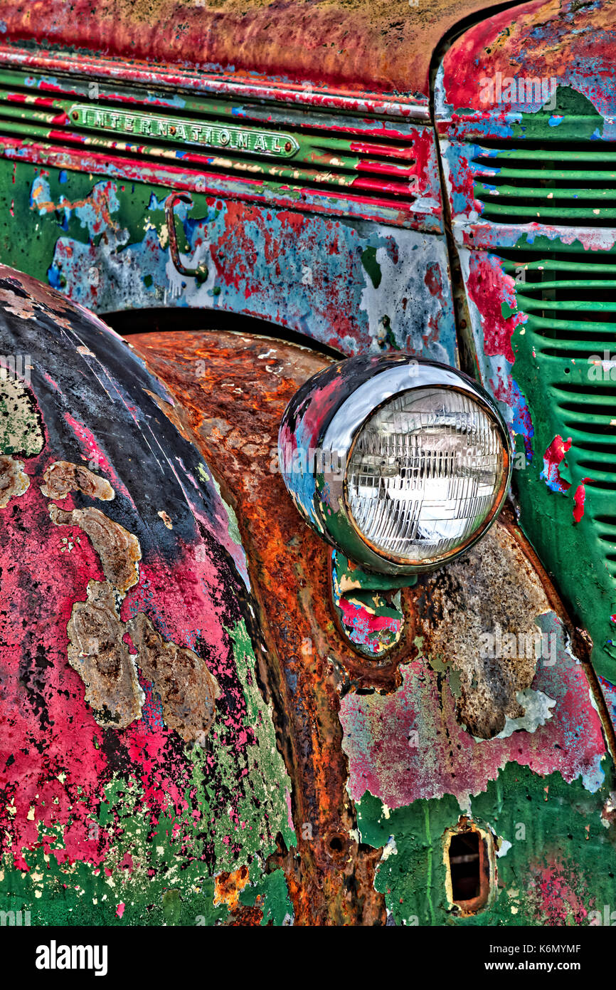 International Truck Details II - Colorful rust and textures embody this vintage early 1900's abandoned truck in a Nevada ghost town. - Stock Image
