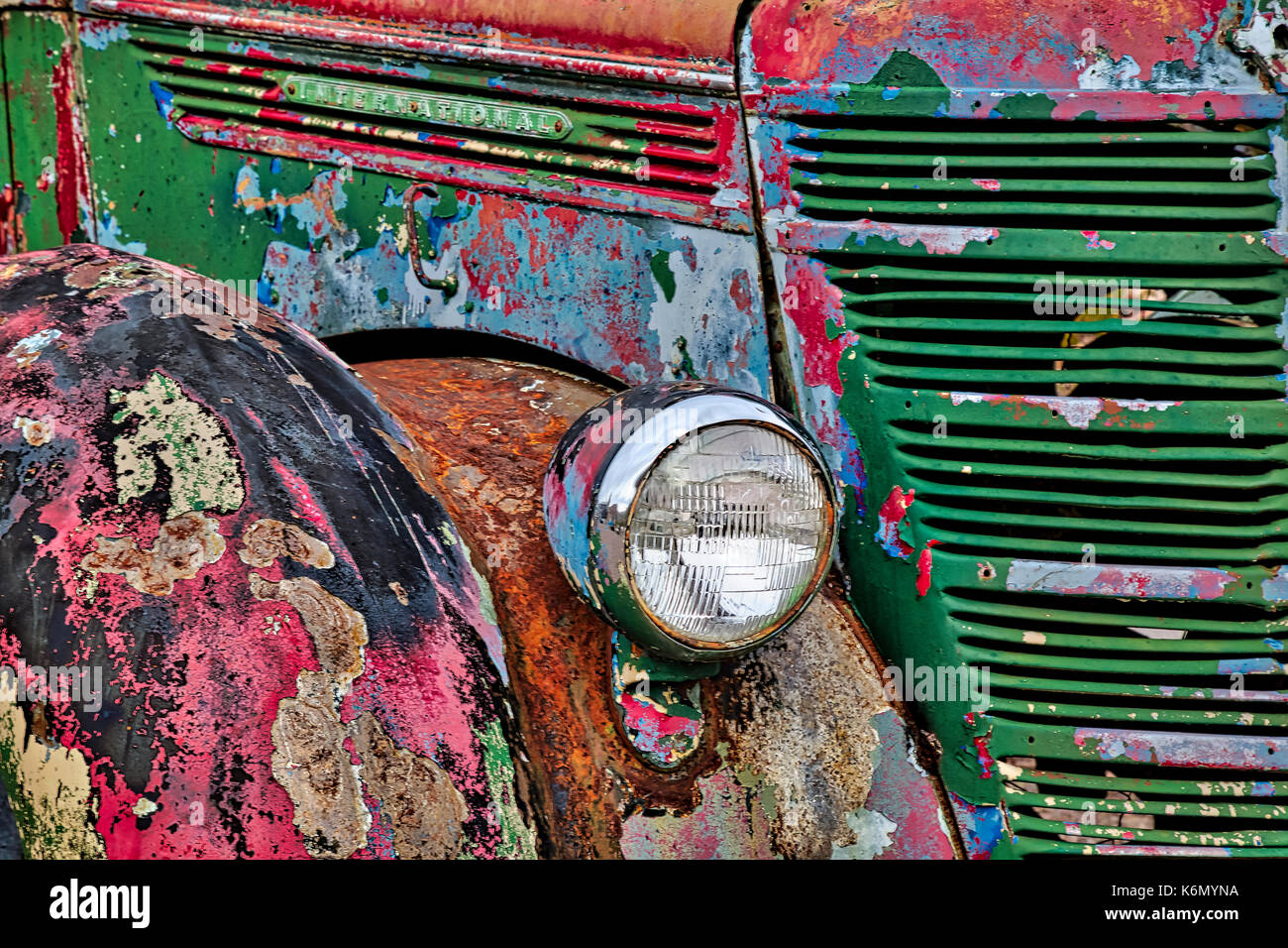 International Truck Details - Colorful rust and textures embody this vintage early 1900's abandoned truck in a Nevada Stock Photo