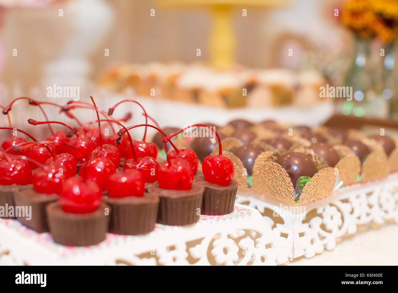 Horizontal Picture Of Beautiful Chocolates With Cherry And Truffles