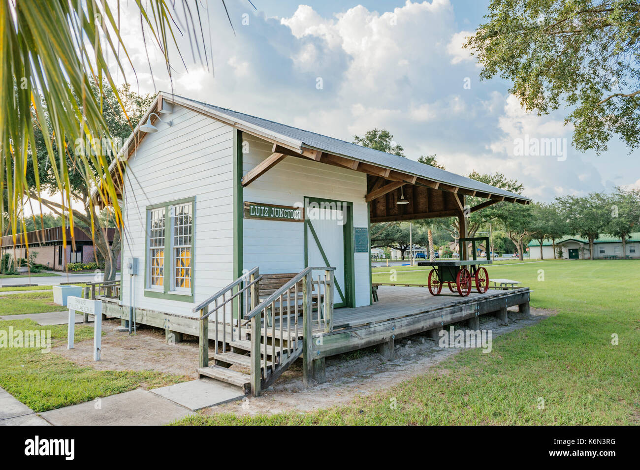 A replica of the small Lutz Depot a stop on the Tampa Northern Railroad, which became Seaboard, in the early 1900's. Lutz, Florida, USA. - Stock Image