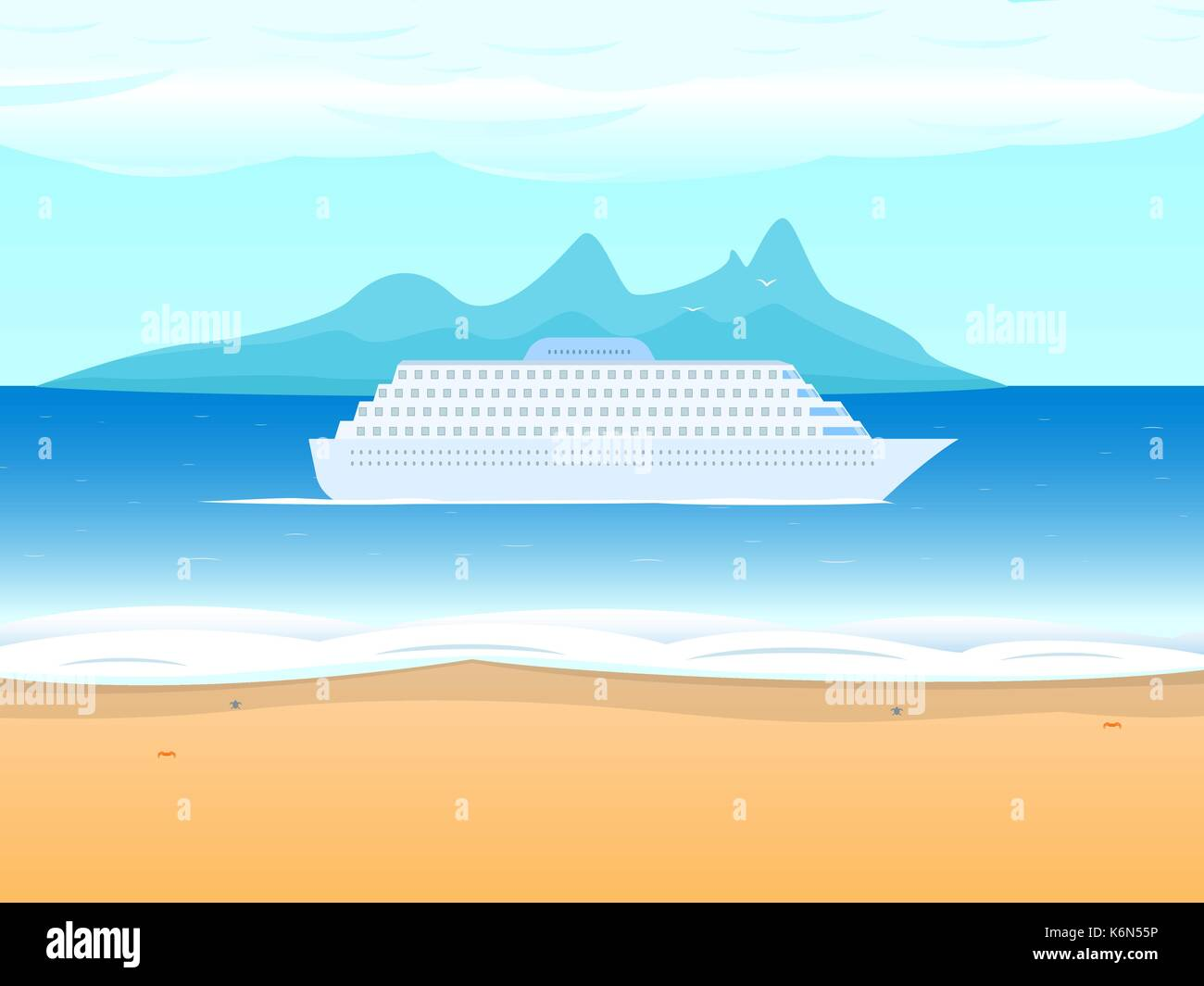 Vector cruise ship liner on the background sea - Stock Vector