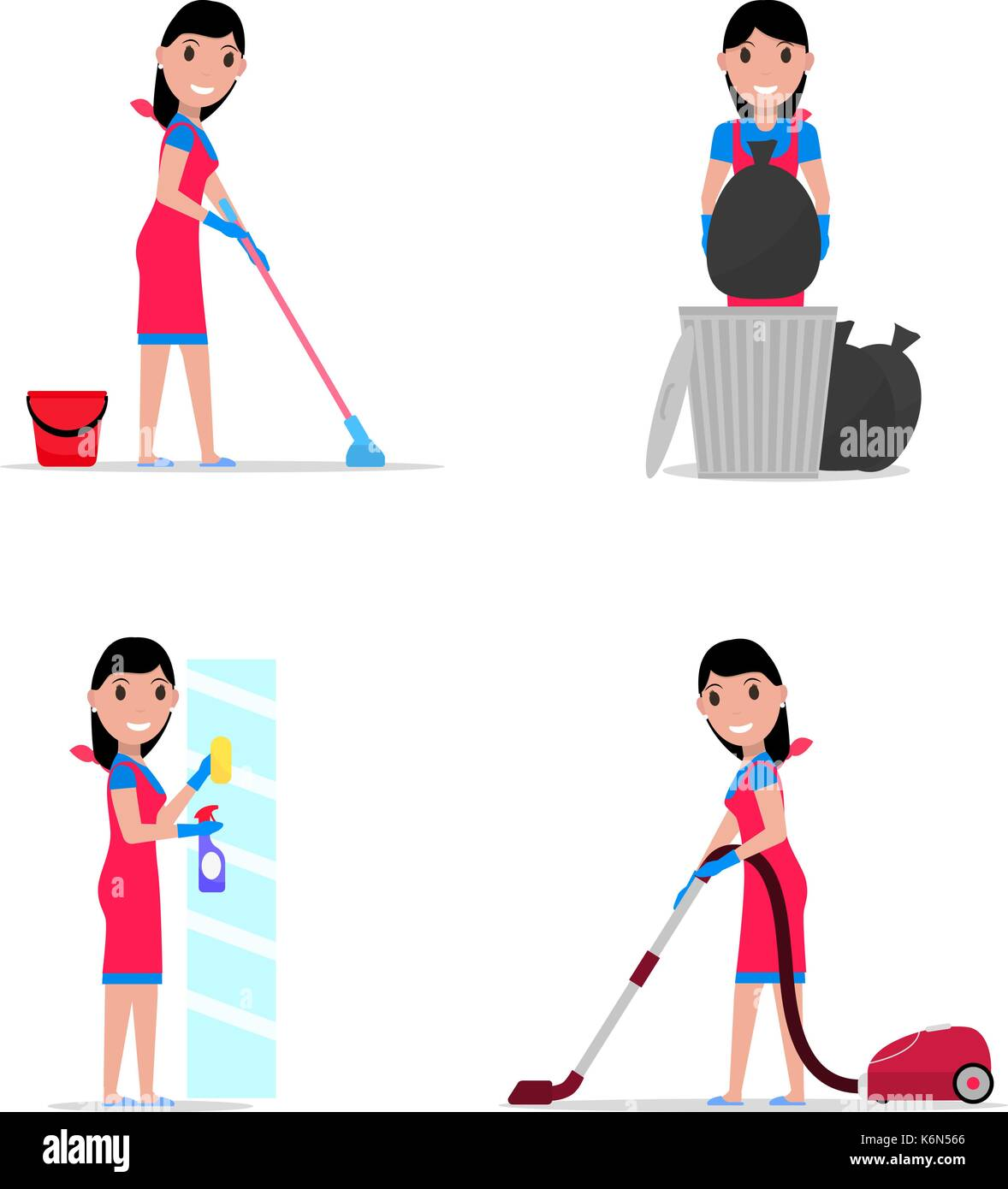 Vector illustration of a set cartoon girl cleaning - Stock Vector