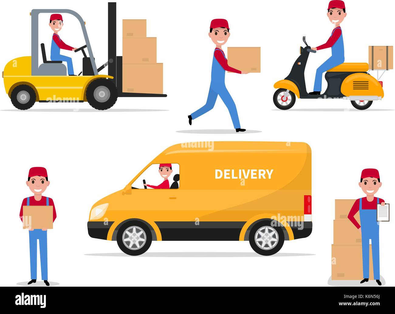 Vector illustration of a set cartoon delivery man - Stock Image