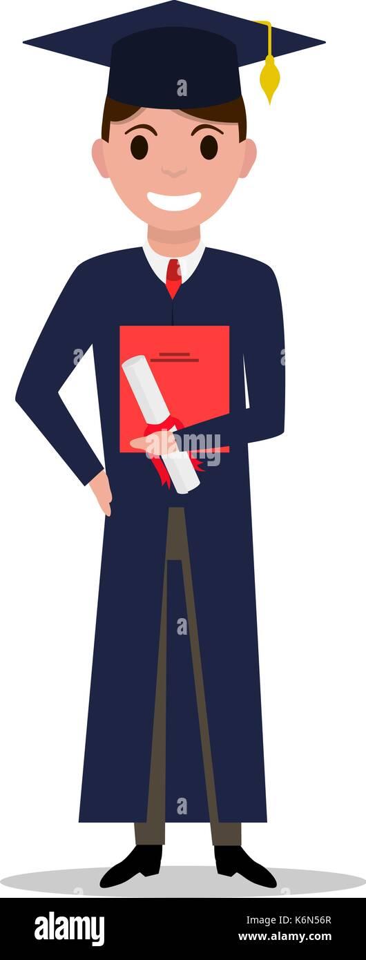 Vector illustration cartoon student boy graduate - Stock Vector