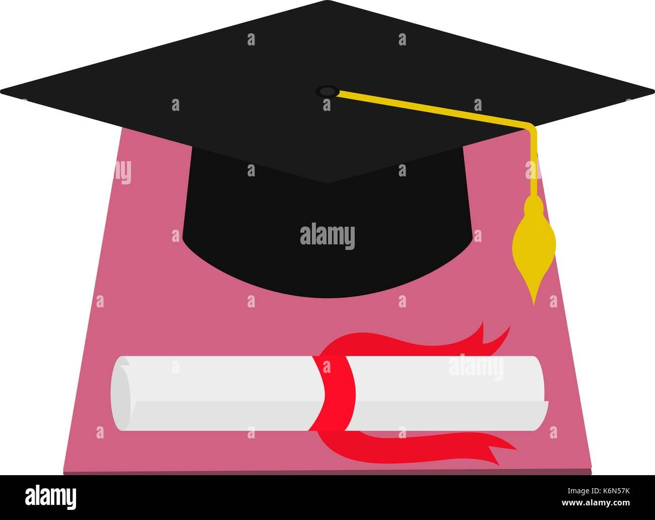 Vector square academic cap and diploma graduation - Stock Vector