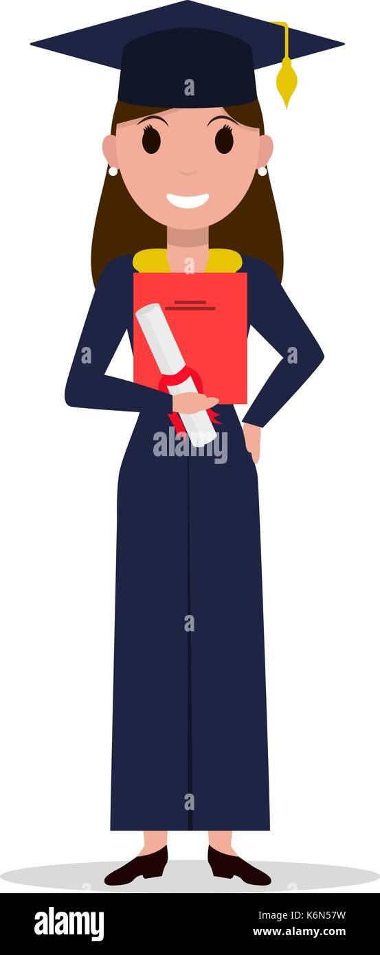 Vector cartoon student girl graduate - Stock Vector