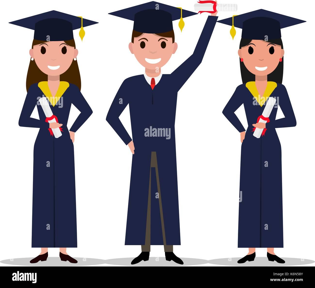 Vector cartoon student girl, boy graduate - Stock Vector
