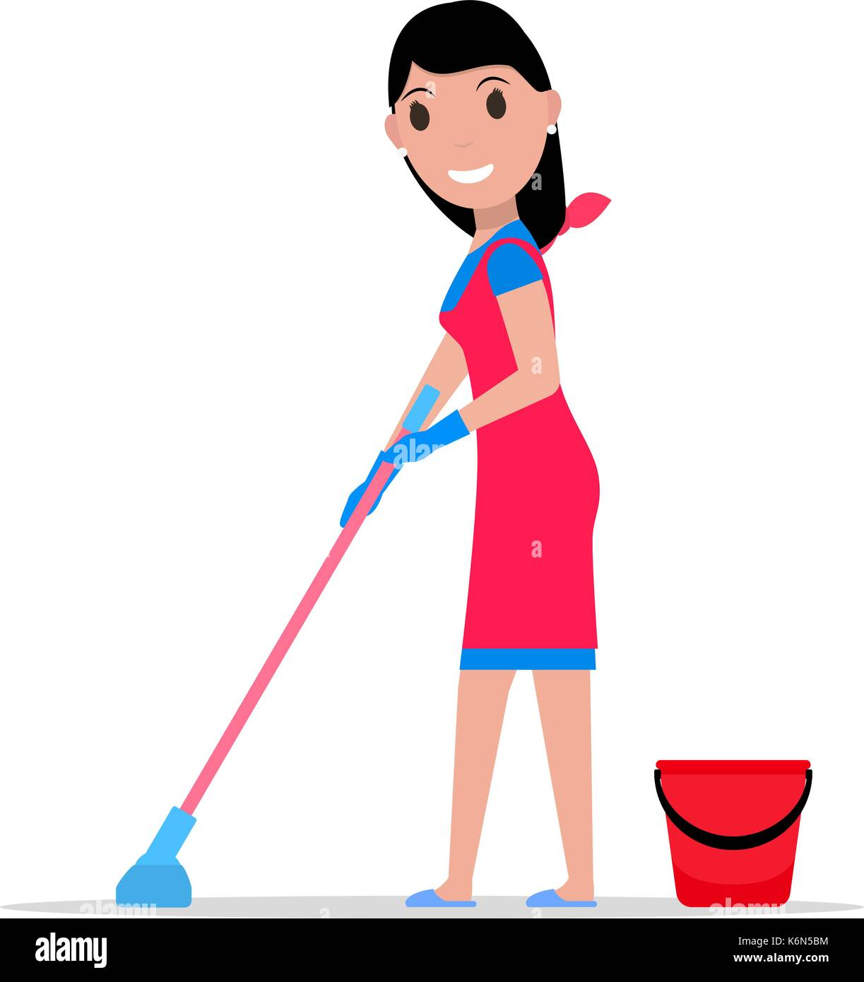 Vector cartoon girl mop and bucket washes floors - Stock Vector