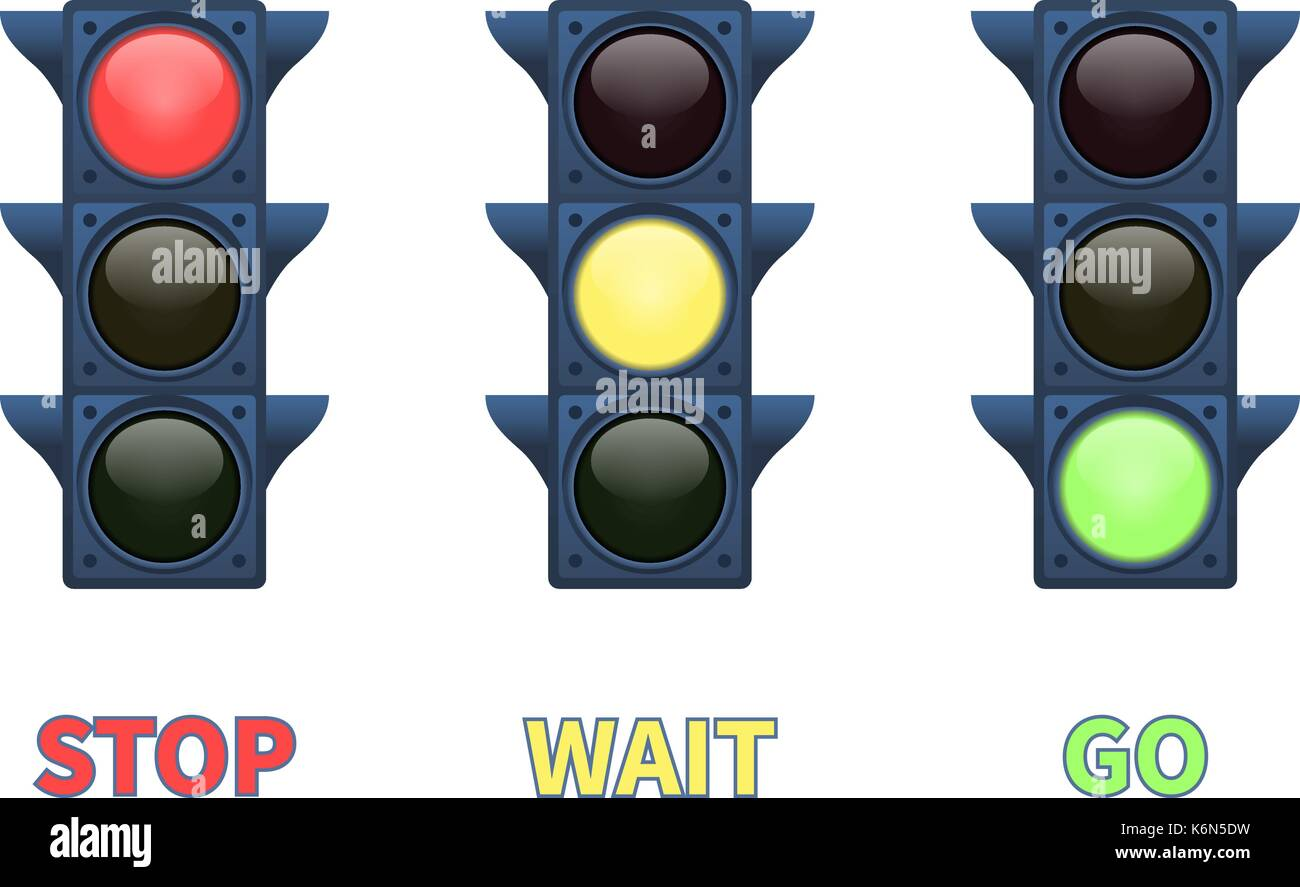 Vector multi-colored signal traffic light - Stock Image