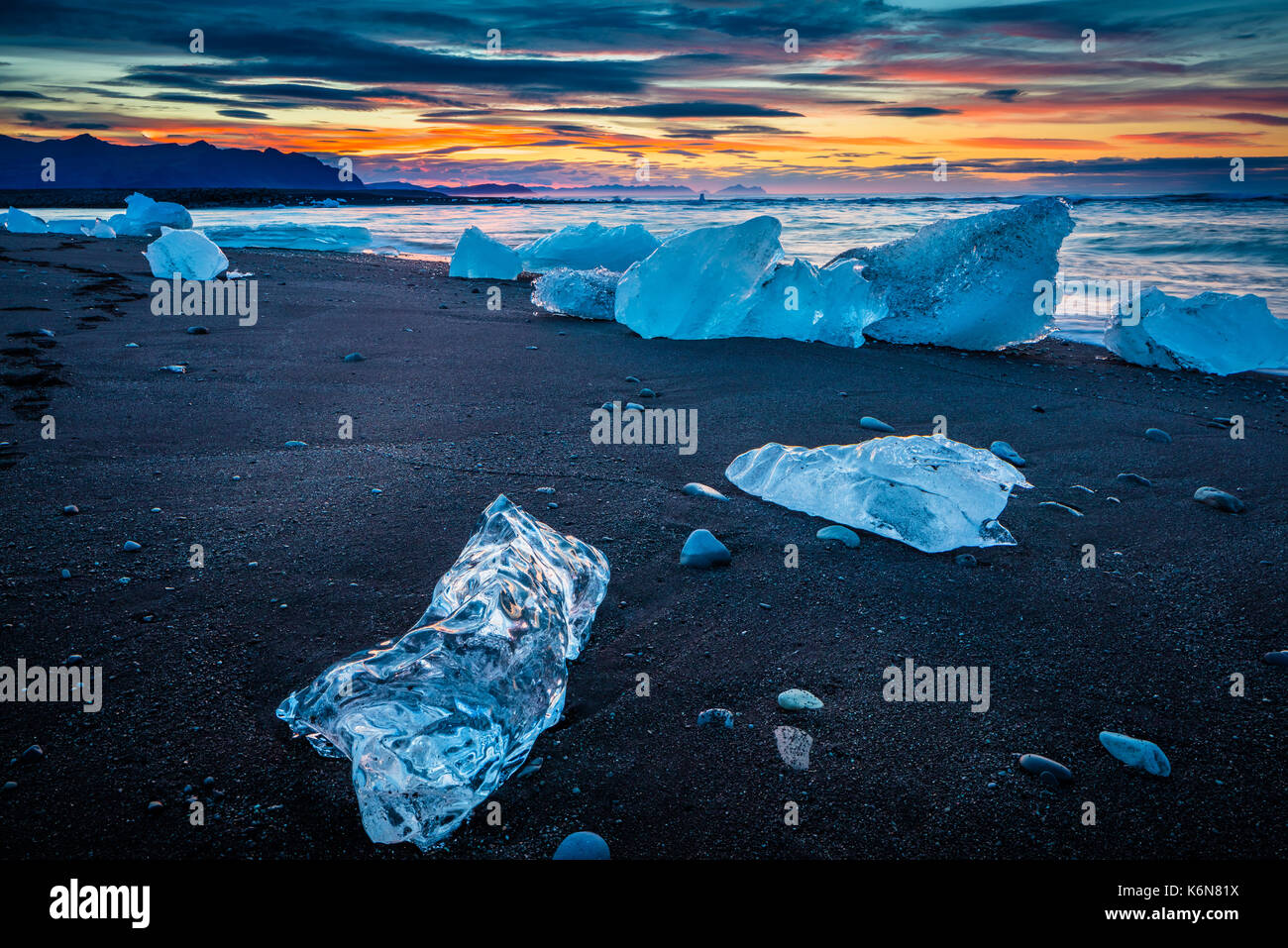 Jökulsárlón is a large glacial lake in southeast Iceland, on the edge of Vatnajökull National Park. Situated at Stock Photo