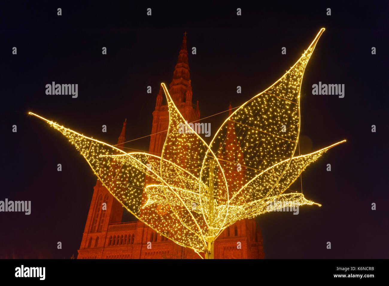 Wiesbaden Christmas Illumination In Front Of Marktkirche At Stock