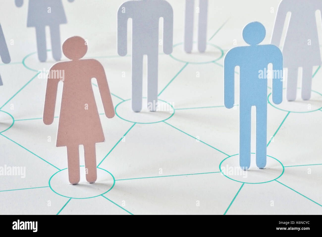 Teamwork and network concept - man and woman working together as a team - Stock Image