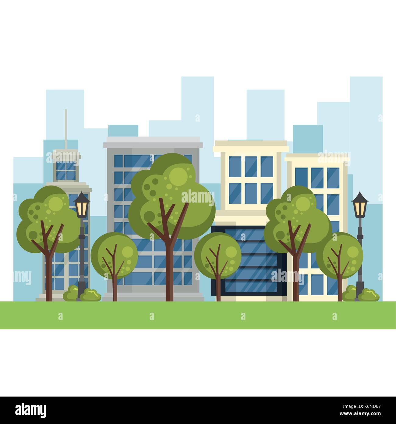 buildings with cityscape scene - Stock Image