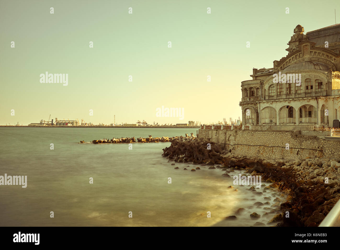 The Black Sea at sunset, seafront Constanta, Romania. - Stock Image