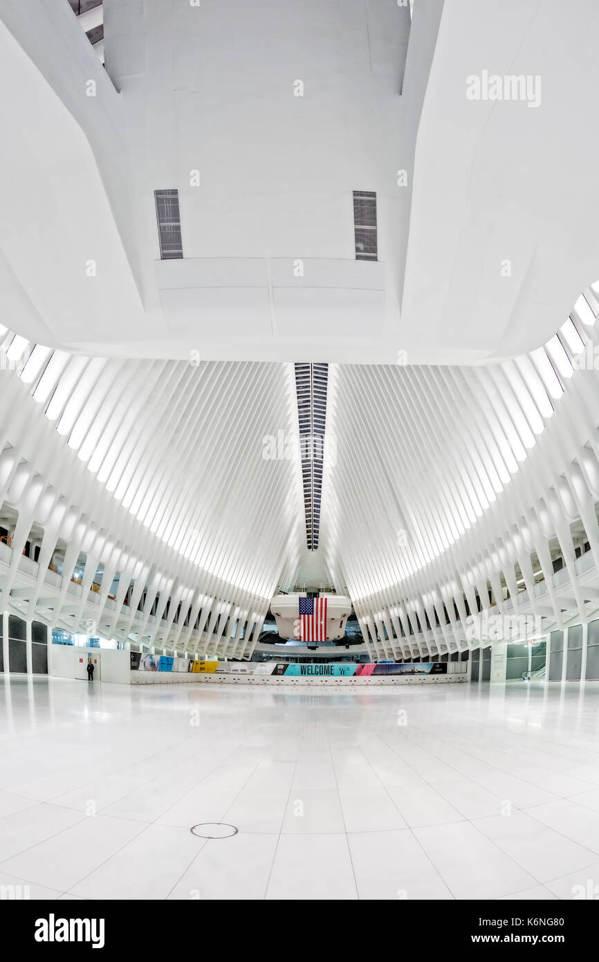Oculus WTC Transportation Hub - The cathedral like pavilion at 4 World Trade Center in lower Manhattan in New York City.   This airy, white and peacef - Stock Image