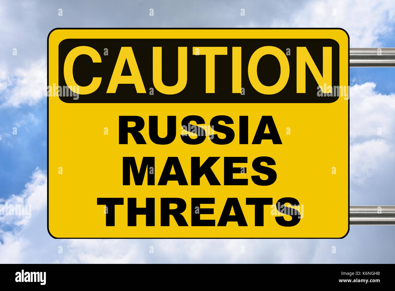 Russia makes threats, political yellow road sign - Stock Image