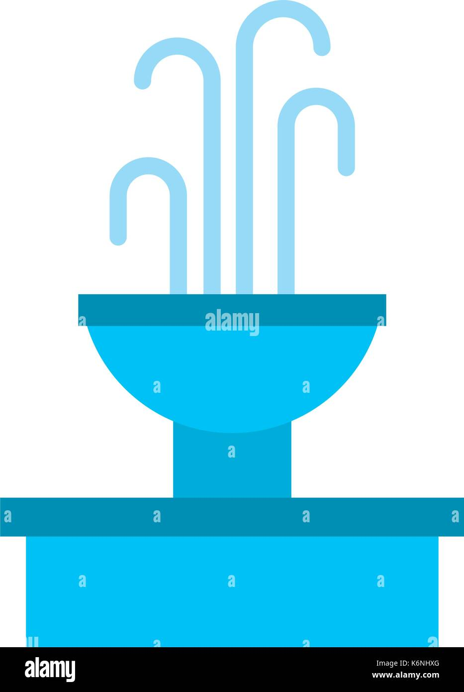 fountain with water splash element - Stock Vector